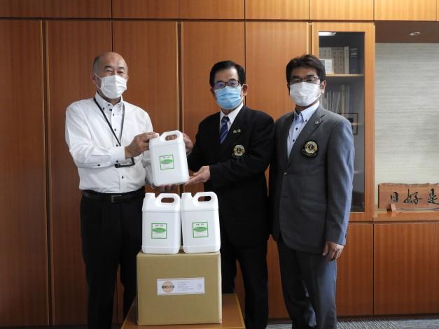新型コロナウイルス対策支援として消毒液寄贈